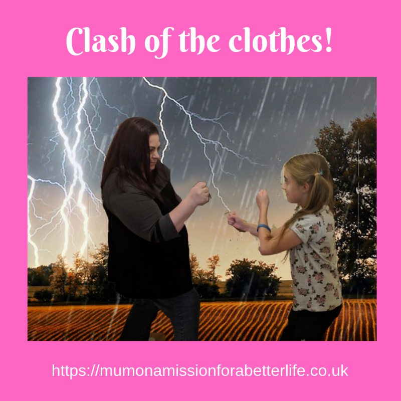 A mother and daughter play boxing in a field with a storm