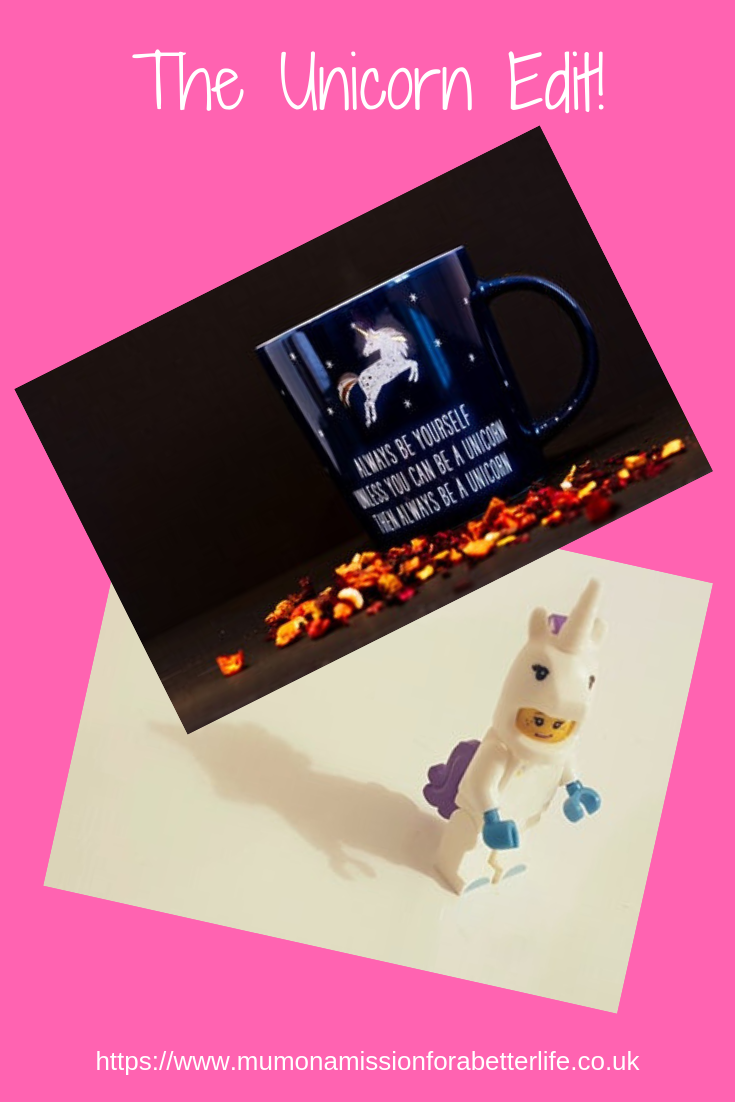 Unicorn lego figure and a black mug with a unicorn on it