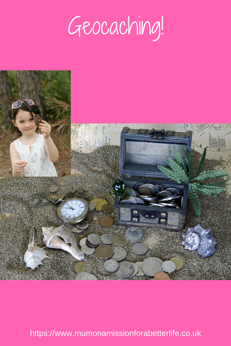 treasure box, coins, compass and a girl holding a pine cone