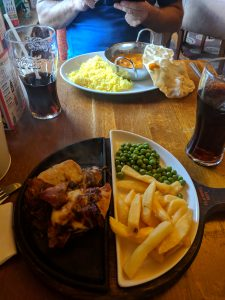Hunters chicken, chips and peas