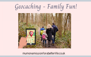 Family walking through the woods with a GPS geocaching