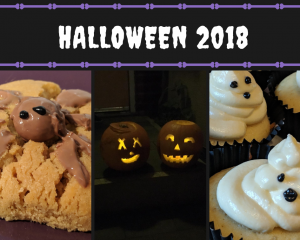 Three pictures. a homemade cookie which has a chocolate spider on the top. Two Halloween pumpkins. Ghost cupcakes.