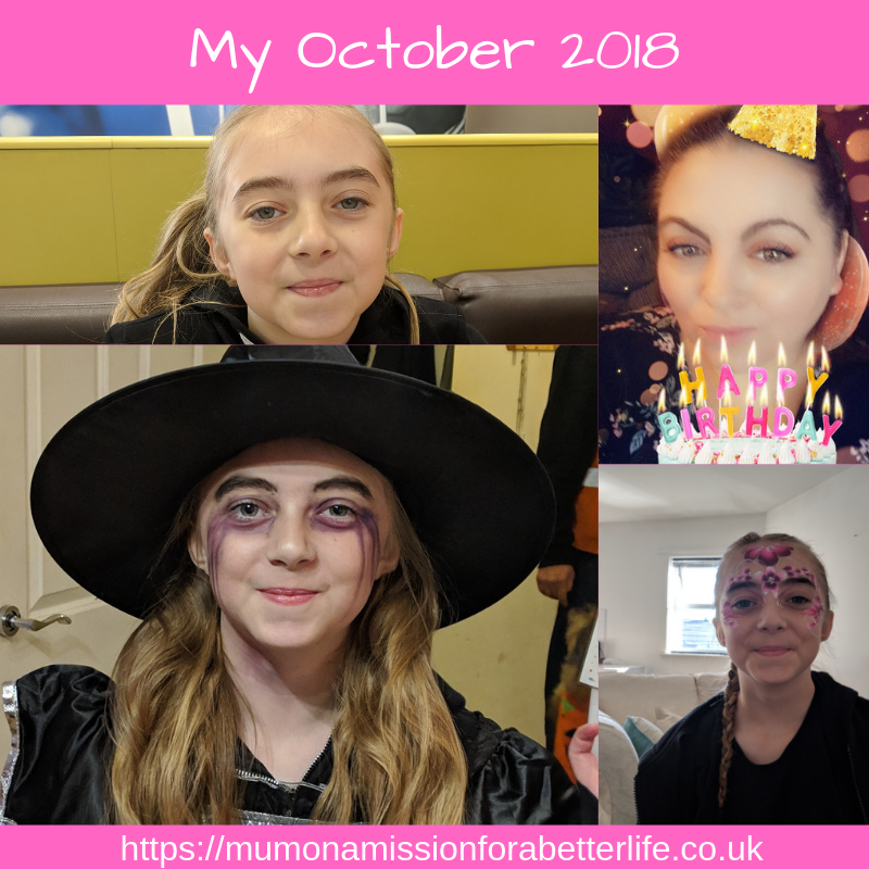 Four pictures. child dressed as witch. girl with face paint. girl with bunches and lady with birthday hat and streamers