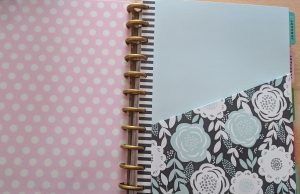 Inside front pocket of a big happy planner