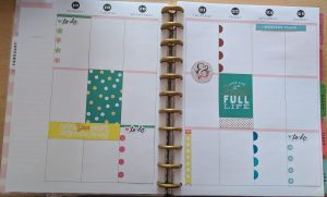 Layout of a decorated big happy planner