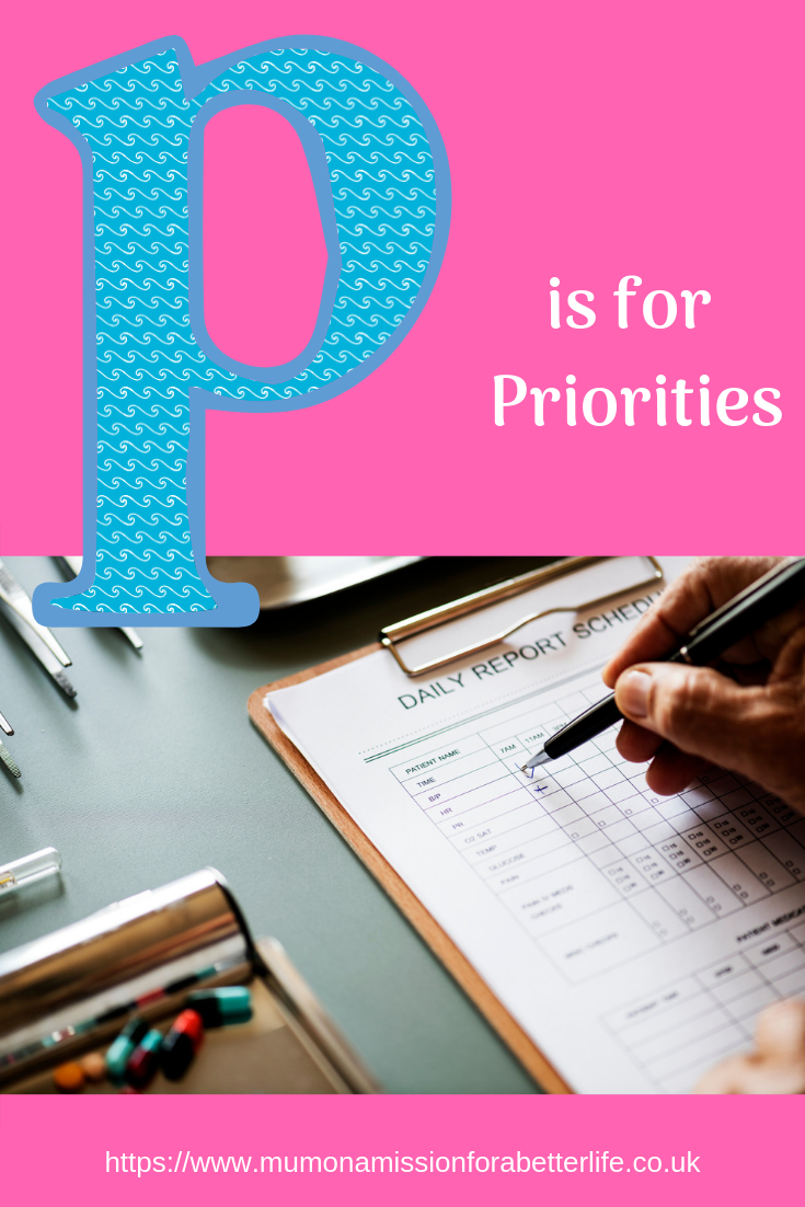 Marking off a checklist to indicate priorities