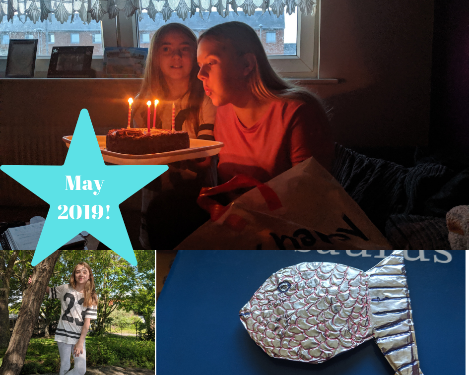 three images. 1 - a young woman blowing out candles on a birthday cake with a young girl. 2. a young girl holding on to a tree. 3. A home made foil fish.