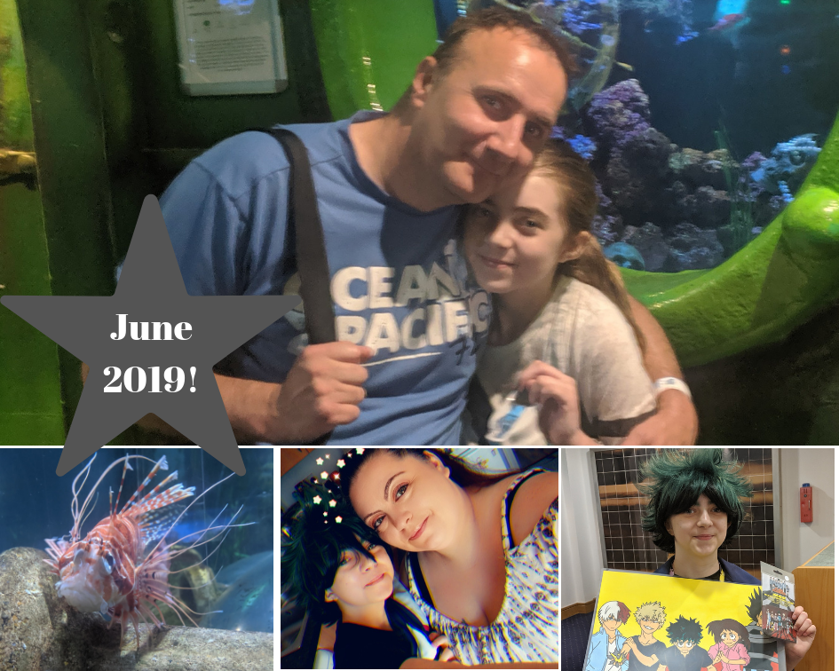 Four picture collage. 1. Dad with his arms around his daughter. 2. Lion fish. 3. Mum and daughter selfie. 4. Girl wearing cos play costume holding merch.