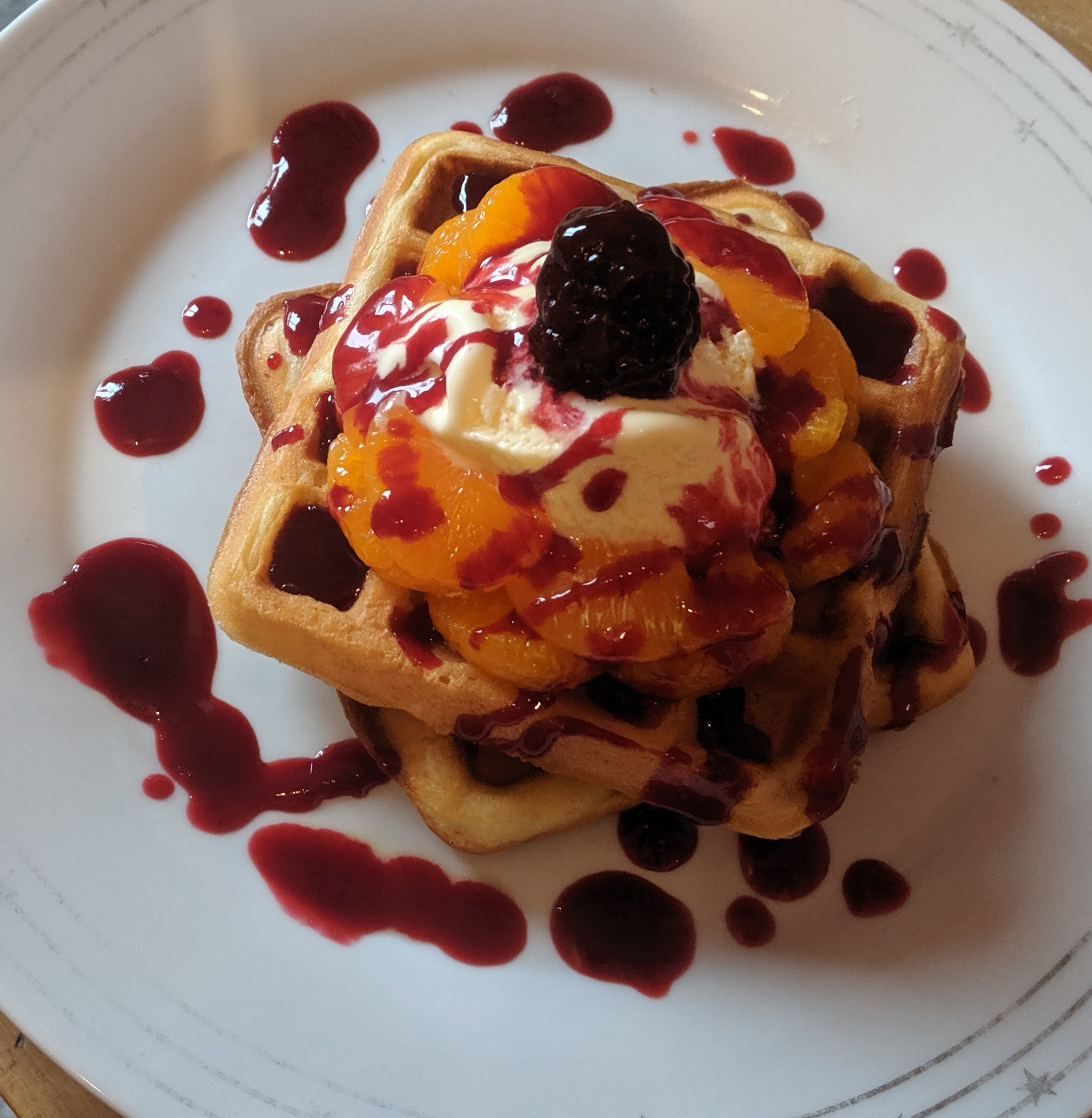 blackberry and orange waffle