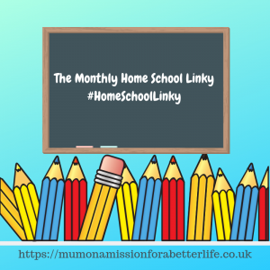 A black board with white writing and a row of pencils. Text on board - the monthly home school linky