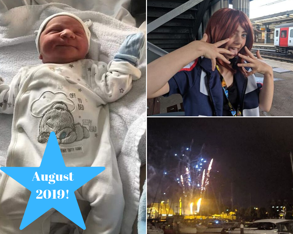 A new born baby, a girl in cosplay and fireworks over the waterfront
