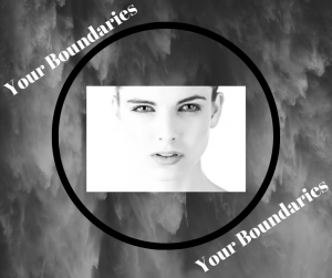 Ladies face in a circle with the text 'your boundaries' either side of the circle and a dark cloudy background