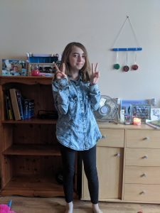 Young girl aged 11. First day back to home school