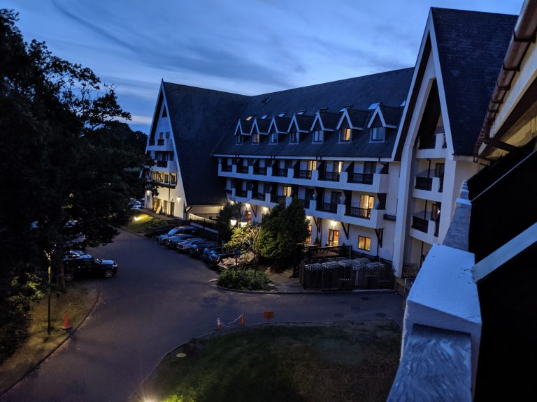 The hotel of the blogging conference at dusk