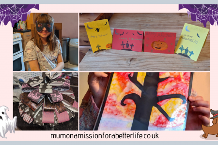 Four images of Halloween crafts. Top left is a girl wearing a homemade Halloween mask that looks like a bat. Top right is four homemade Halloween cards on a table. Bottom left is a paper tree made from purple and black papers. Bottom right is a picture of a dead tree that has been decorated for Halloween