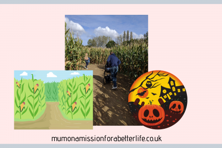 Photograph of a corn maze with some graphics either side. On the left is a graphic of a corn maze and on the right is a pumpkin with a haunted house in the background