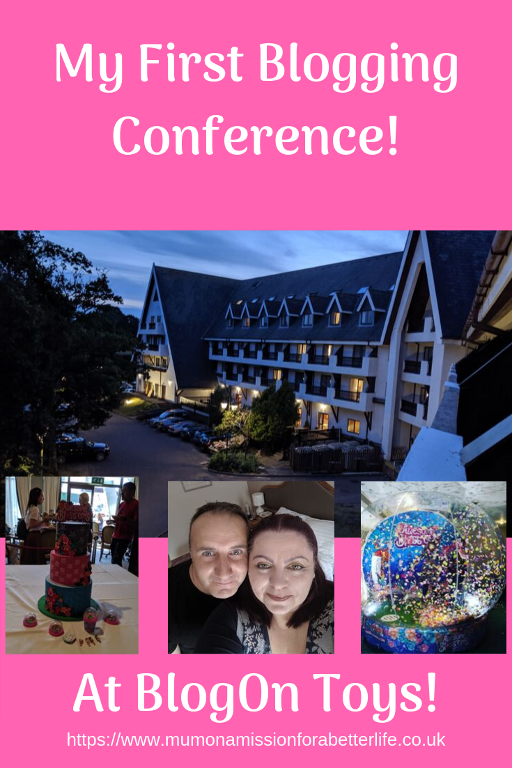 The hotel at the blogging conference at sunset with three smaller images; 1 - a large colourful cake, 2- man and woman selfie, image 3 - giant inflatable globe full of flying petals.
