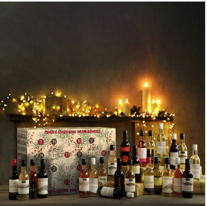 Wine advent calendar with lots of mini wine bottles