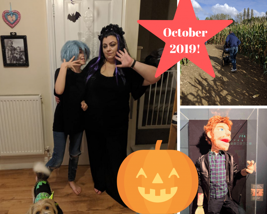 3 images - 1 = myself and my daughter dressed up for Halloween. 2 = The back of my husband pushing the pram with our grandson inside through a corn maze. 3 = Ed Sheeran puppet