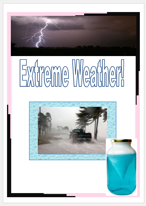 Lightning, strong wind shown by the trees bending and a tornado in a jar science experiment