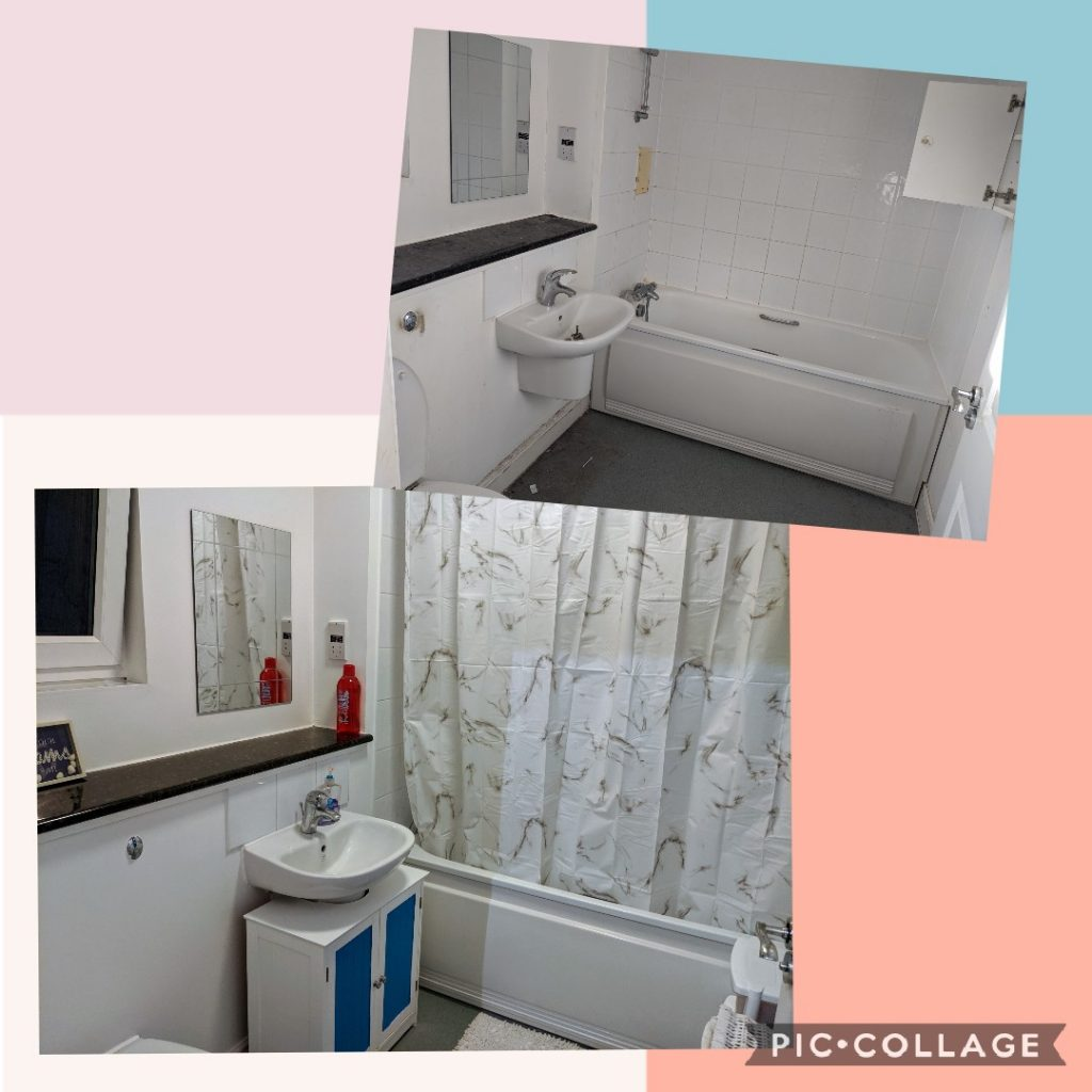 Before and after shot of a bathroom