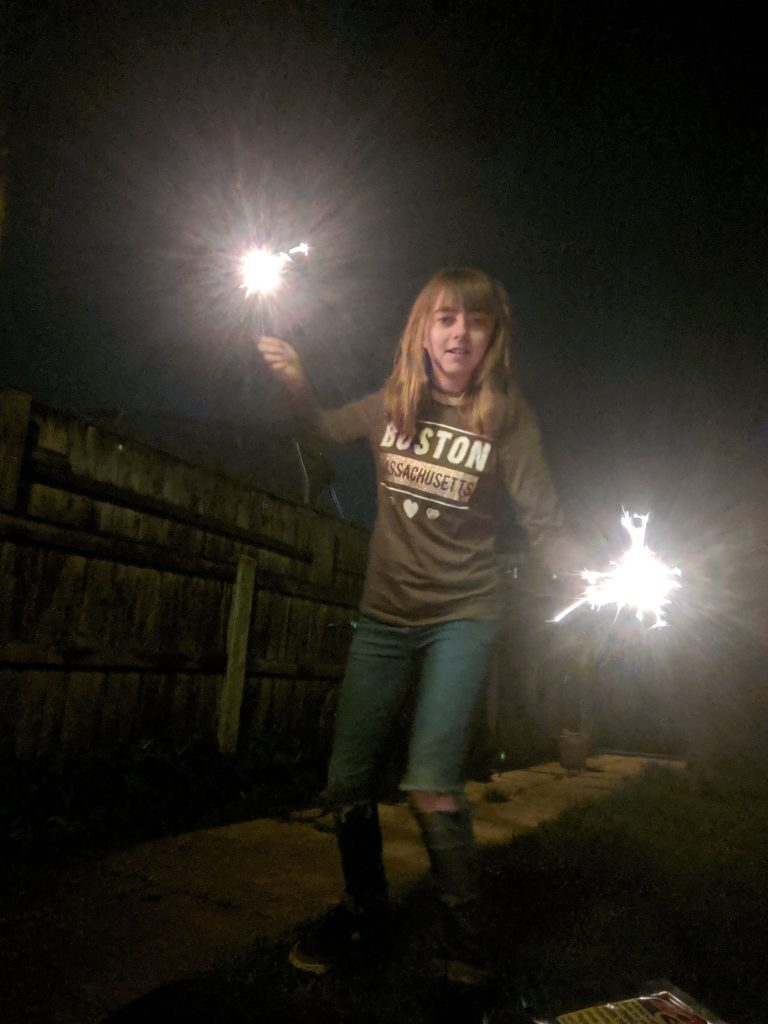 Faith enjoyed the sparklers