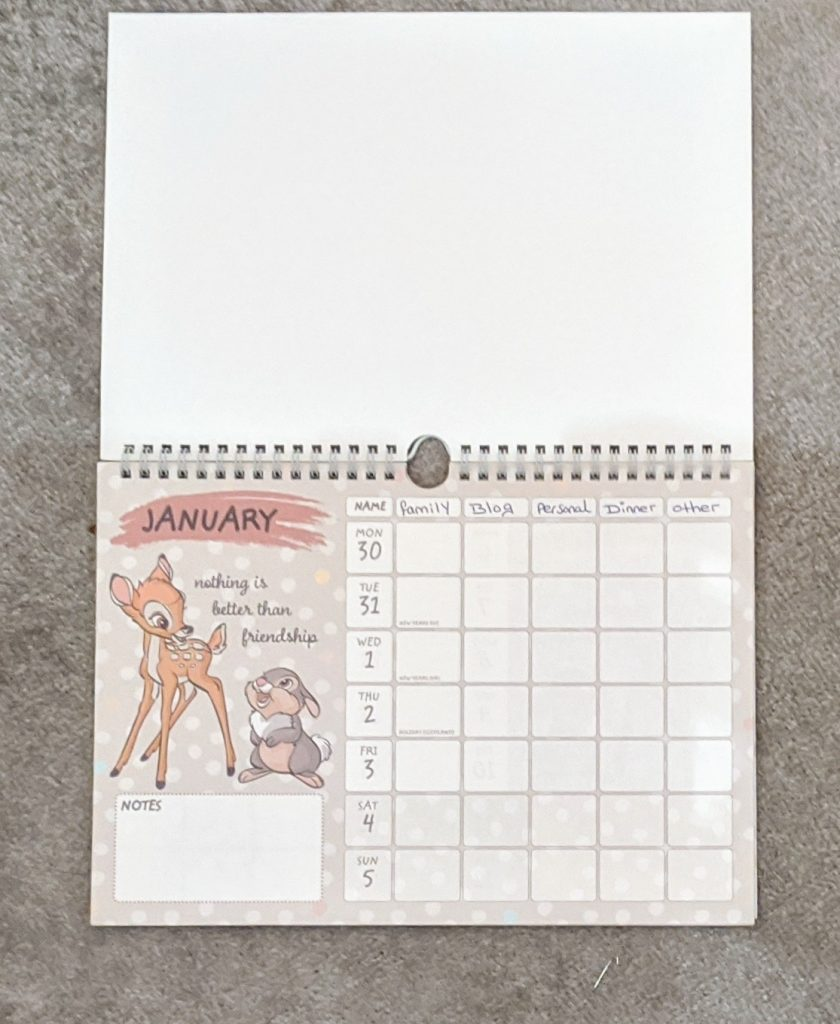 First page of a Disney Calendar with bambi and thumper on the side for decoration.