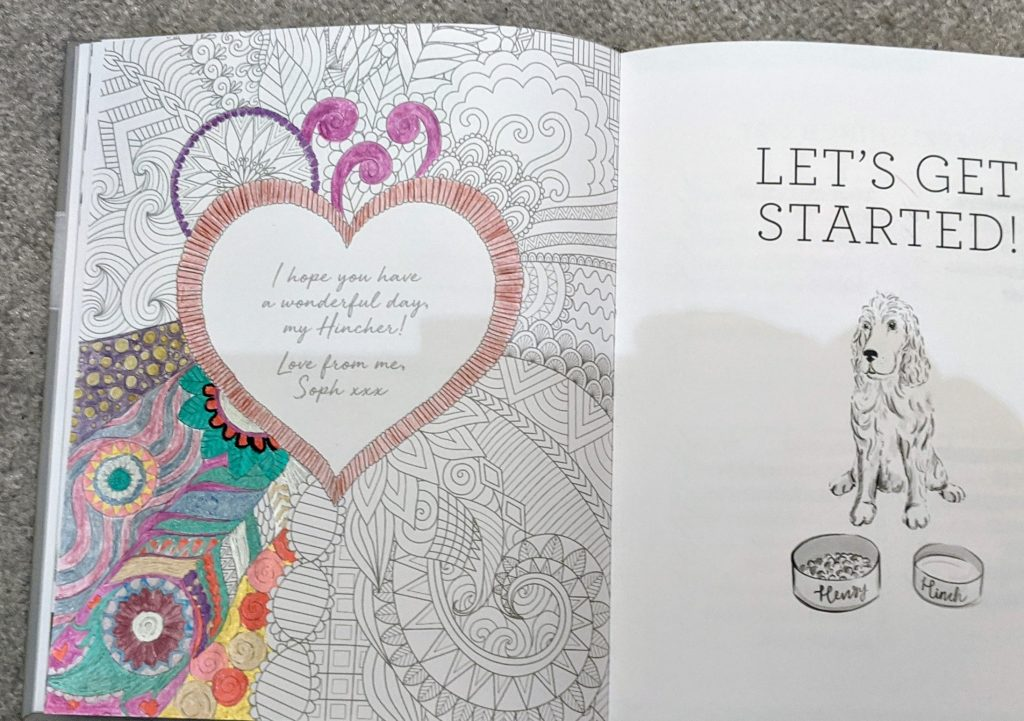 A page from the inside of the cleaning planner which has been partially completed