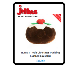 Christmas pudding shaped dog toy