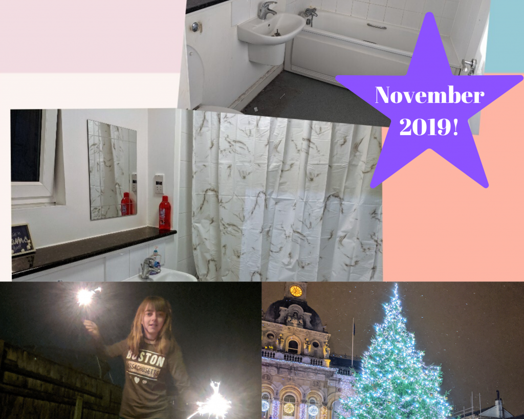 Before and after bathroom, girl holding a sparkler in each hand and the top of a xmas tree lit up at night
