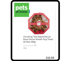 Wreath themed box of dog biscuits