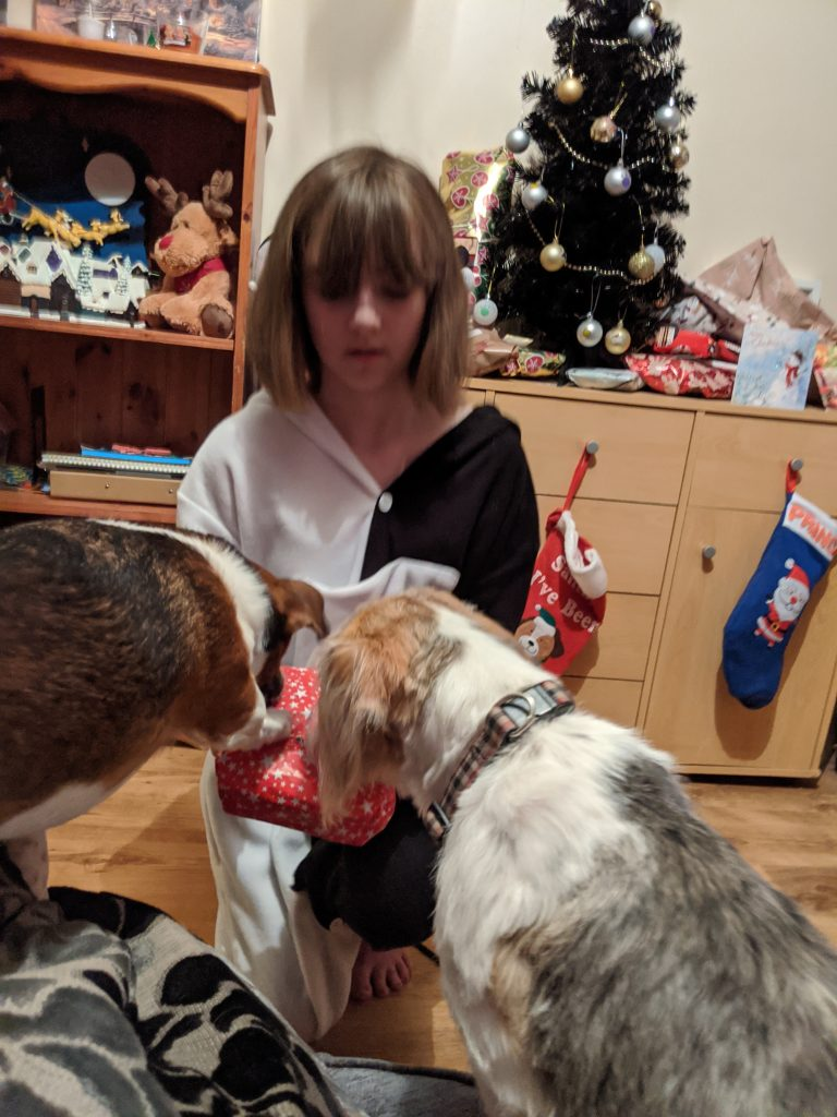 Faith and the dogs opening Christmas presents