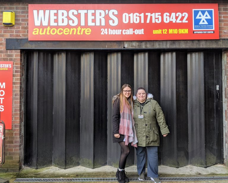 Myself and Lauren outside Webster's garage