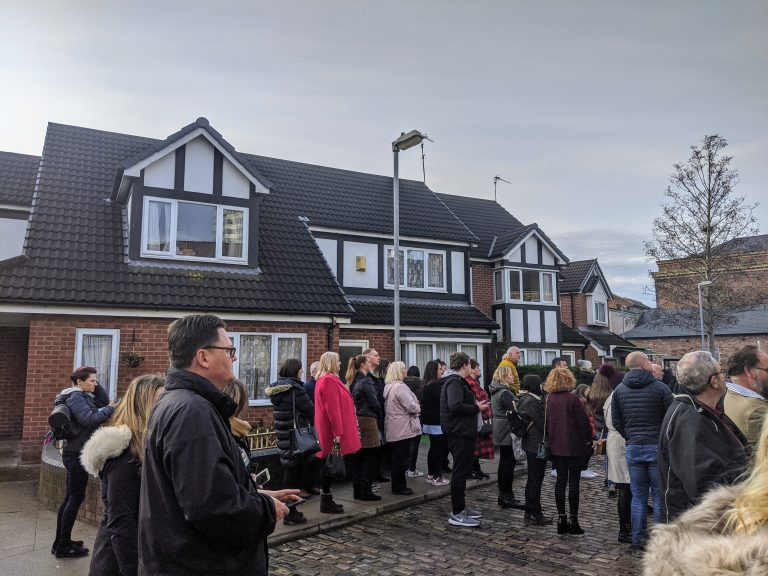 Lots of people on the Coronation street tour
