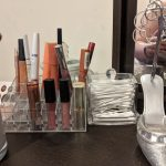 Clear plastic lipstick organiser with lipsticks inside