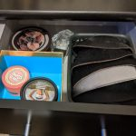 Bra inserts and body lotions in a drawer