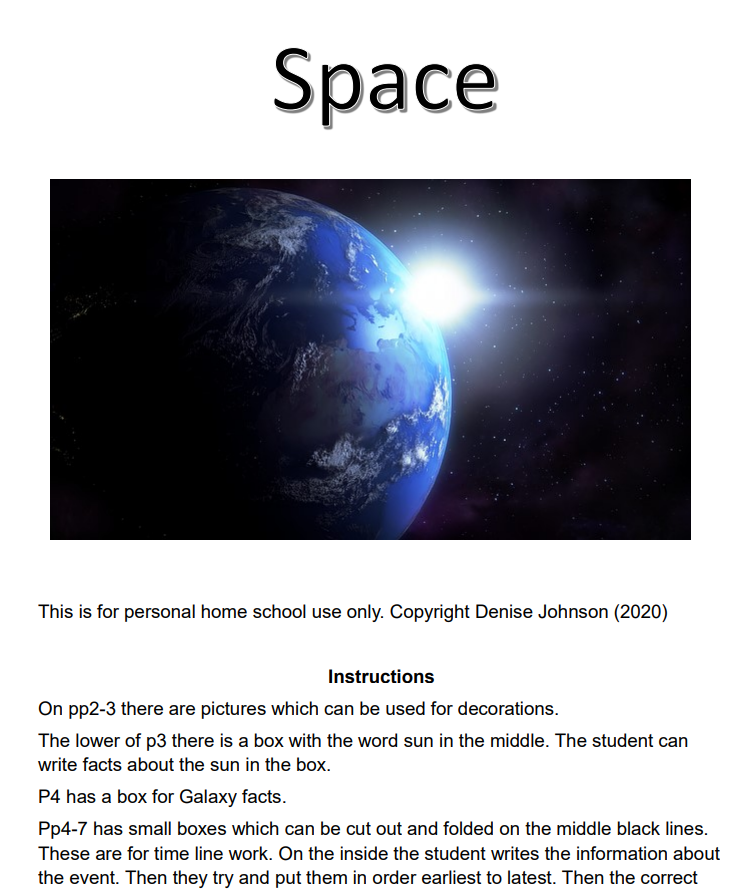 Snapshot of the free notebook pages about space