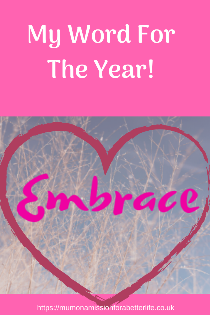 Embrace with a red heart outline around the word.
