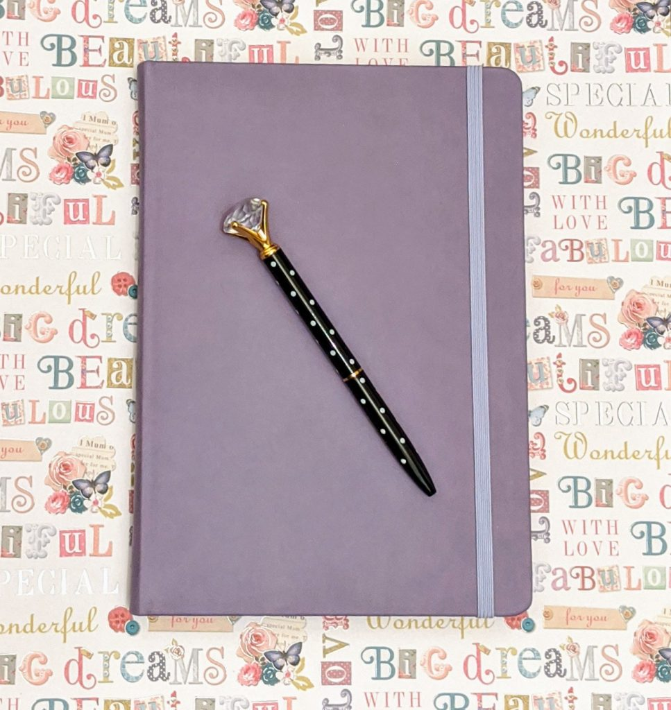 Purple A5 notepad and black crystal ended pen
