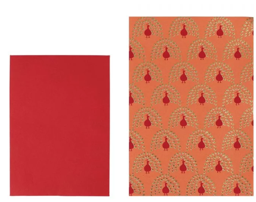 Orange peacock paper and red envelopes