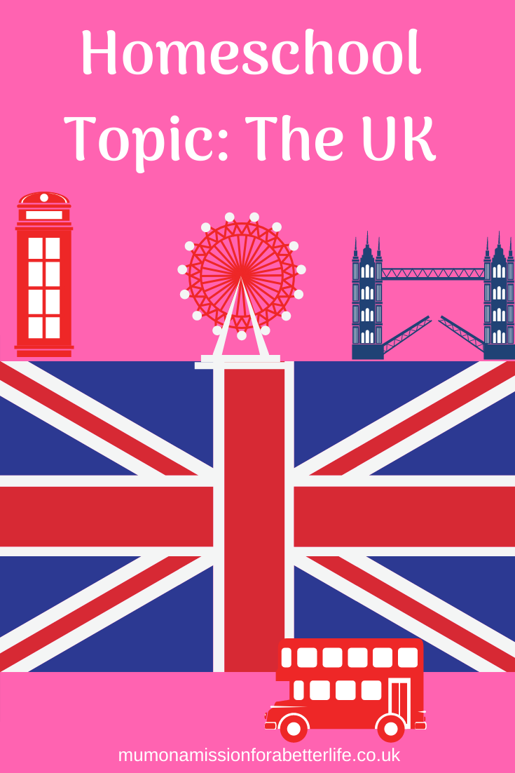 Homeschool topic the UK flag, British telephone box, London Bridge, London Red bus and the London Eye.