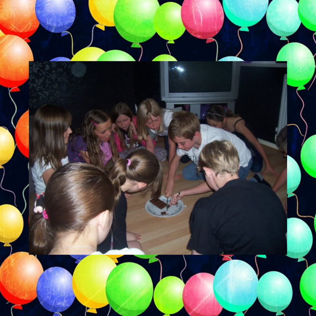 Kids playing the chocolate dice game