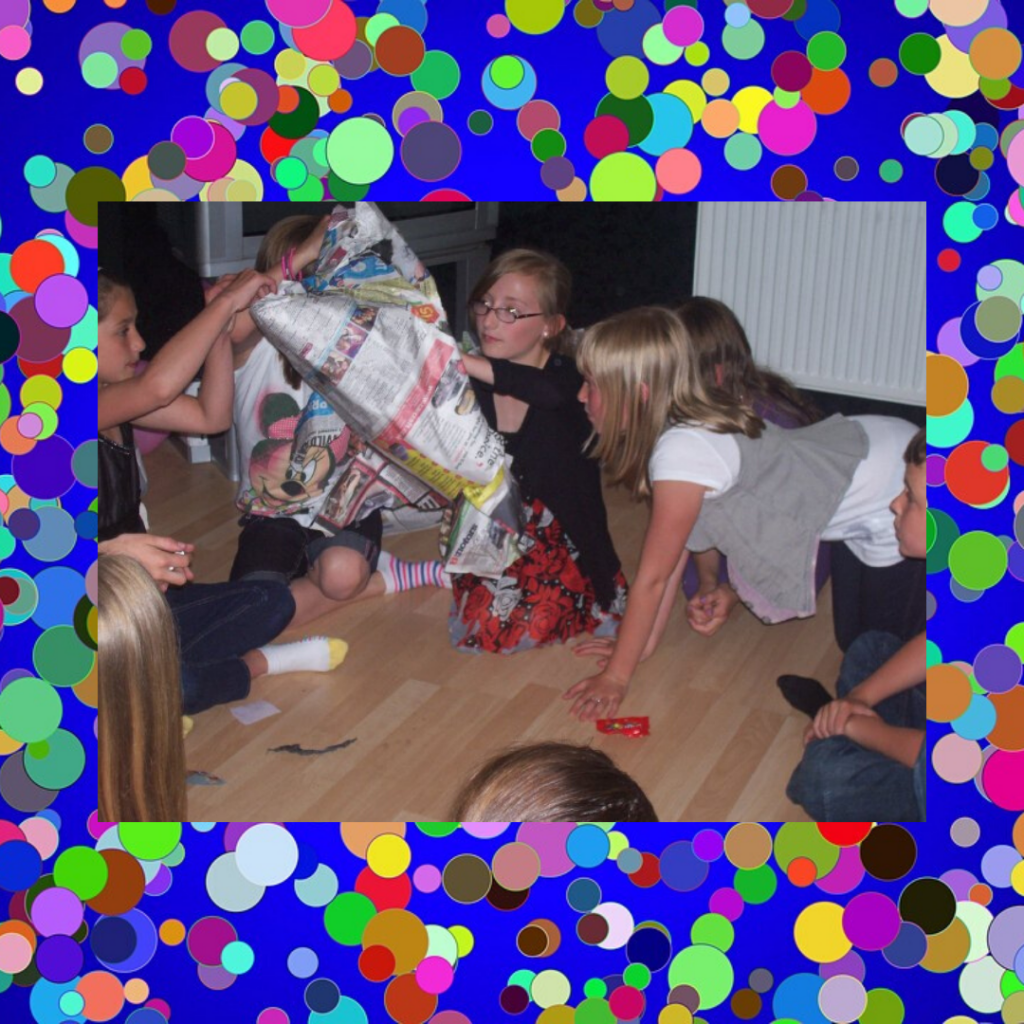 Kids playing party game pass the parcel