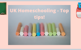 Board, chalks and backpack for homeschool