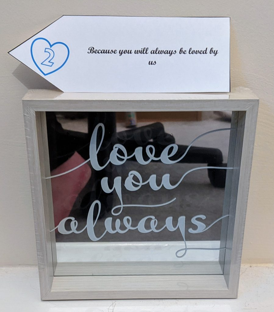 Mirrored plaque with the words 'love you always'