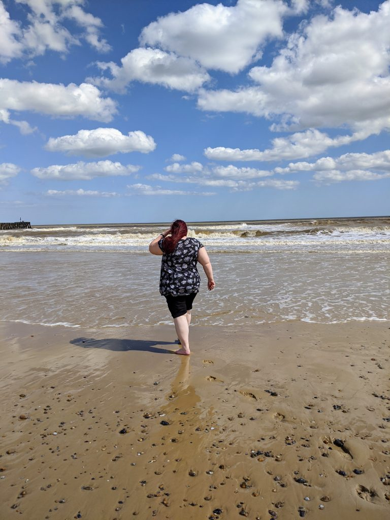 Me walking into the sea at Walberswick beach on the Suffolk coast
