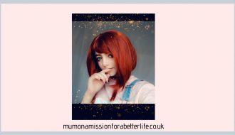 Girl in cosplay wearing a red wig
