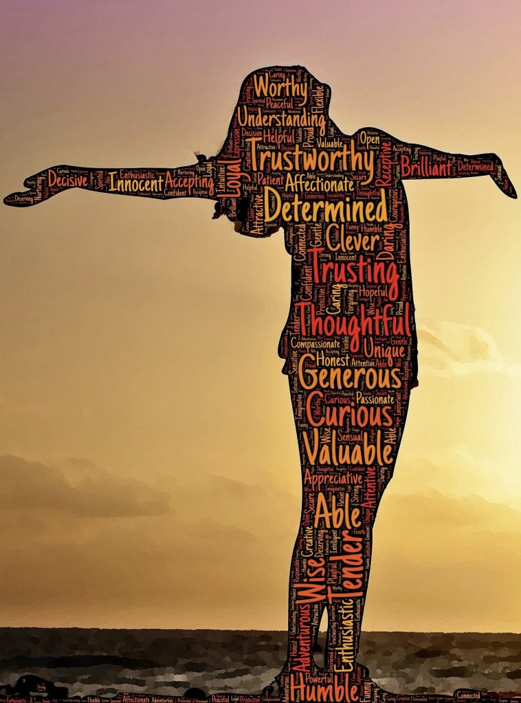 silhouette of a woman standing in a sunset with positive words all over the silhouette