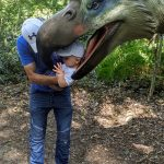 Darren holding Keaton so it looks as if he is being eaten by a dinosaur!