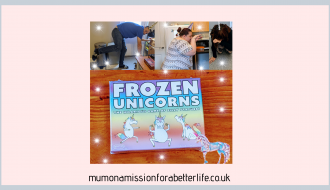 Frozen unicorns packet on a table with smaller pictures of people in frozen statues